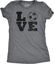 Womens Love Soccer Tshirt Cute Sports Tee for Ladies