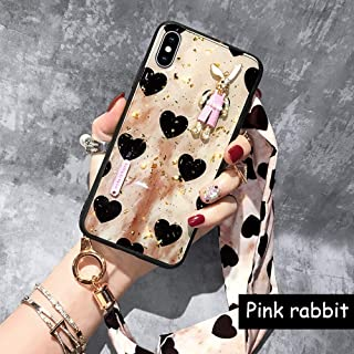 iPhone CASE- Epoxy Love Bunny Decoration Mobile Shell Silicone All-Inclusive Drop Protector Suitable for Iphone7/8 Two Colors (Color : Pink Rabbit, Size : iPhone 7/8)
