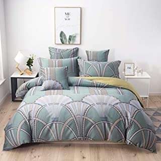 Softta Queen Size Vintage Bedding Set 3Pcs Duvet Cover Sets (No Filling)Baroque Bohemian style Damask Hidden Zipper Closure Fan-Shaped Spray Ginkgo leaf Pattern Teal European Ancient Roman Geometry