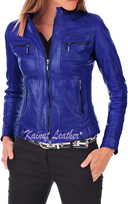 KAINAT Women's Motorcycle Bomber Phoenix Mall Biker Lambskin Leather Jacket H Limited price