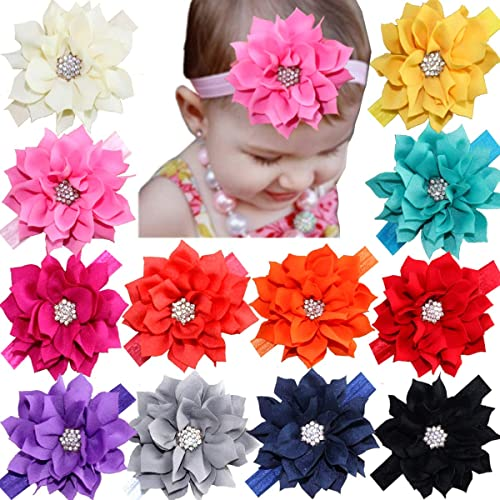 12Pcs Baby Headbands Flower Hairbands Hair Bows with Rhinestones for Baby  Girls Toddlers Infant Newborns 3eb6d2cc47b9