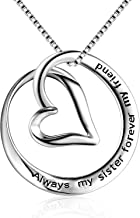 BGTY Sterling Silver Always My Sister Forever My Friend Love Heart Pendant Necklace, Box Chain 18