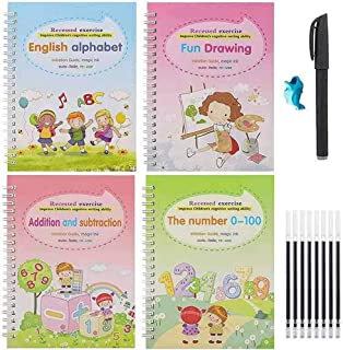 Upgraded 4pcs Magic Practice Copybook for Kids, The Print Handwiriting Workbook, Reusable Writing Practice Book, Alphabet ...