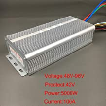 48-72V 48-96V 48-120V Brushless Motor Controller 2000W 3000W 4500W 5000W Motor Speed Controller 50A 80A 100A Wave Ebike Controller for Electric Vehicle Scooter Tricycle (48V-96V 5000W 100A)