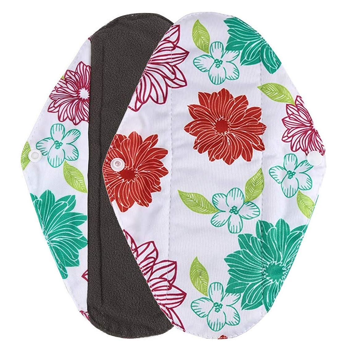 示すパッケージヘビーSAMHOT洗える生理用ナプキン再利用可能な女性の女の子女性竹布生理用ナプキン母タオル緑 (S)