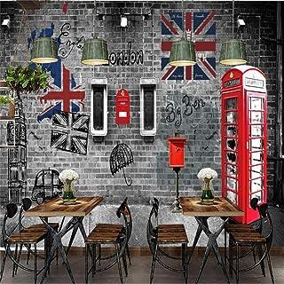 WWMJBH Mural 3D Photo Wallpaper Cabina Telefónica Retro Europea Y Americana De Londres 250X175Cm Pegatina Decoración Del Hogar Restaurante Cafetería Bar Mural Creativo Cartel Autoadhesivo Cocina Adecu