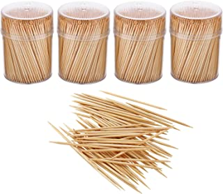 Gmark Bamboo Wooden Toothpicks 1600 Pieces Wood Round Toothpicks in Plastic Storage Holder  Sturdy Double Sided for Party, Olive, Fruit, Teeth Cleaning Toothpicks (4 Packs of 400pc) GM1102