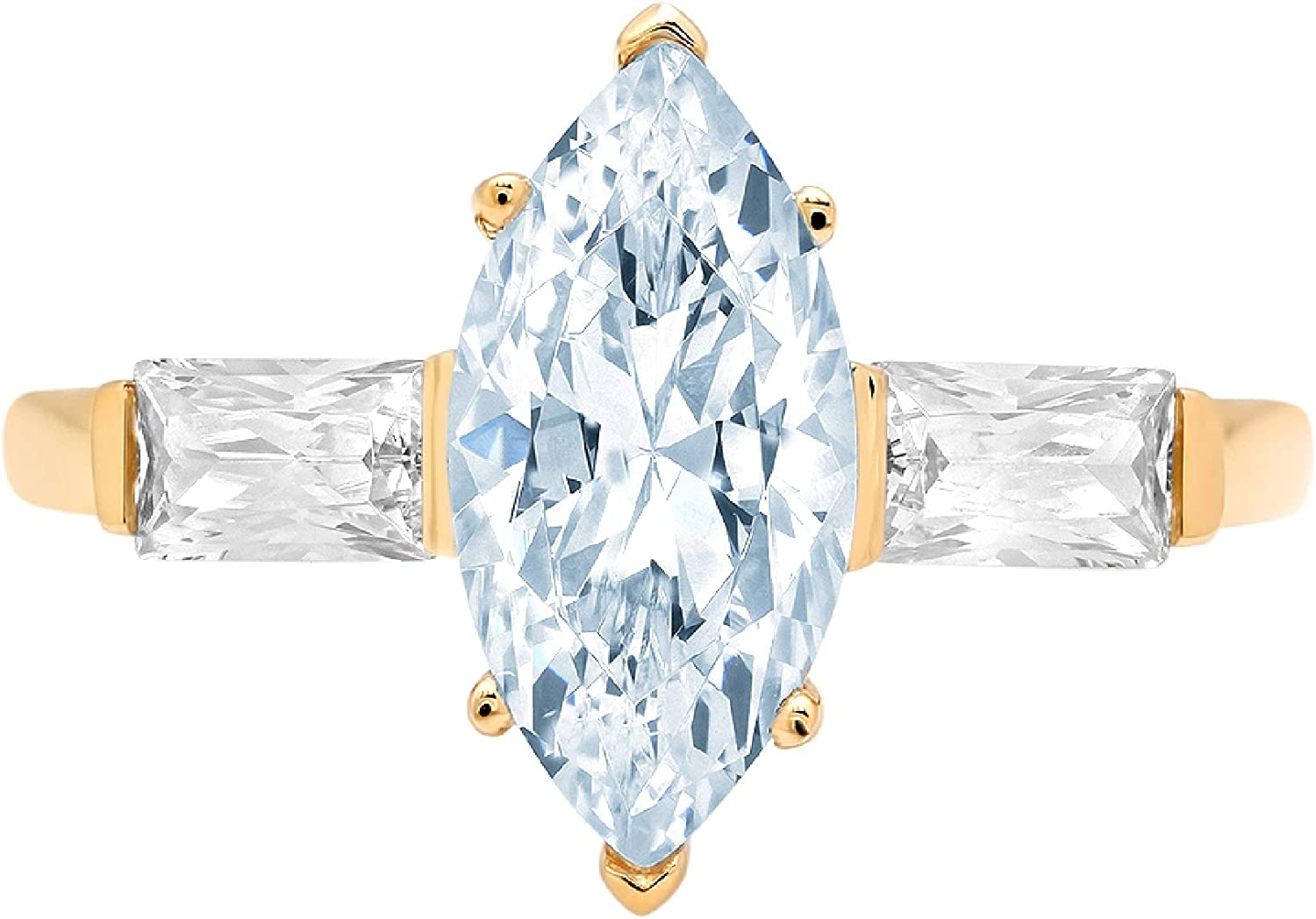 1.94ct Marquise Baguette cut 3 stone Solitaire with Accent Aquamarine Blue Ideal VVS1 Simulated Diamond CZ Engagement Promise Anniversary Bridal Wedding Ring 14k Yellow Gold