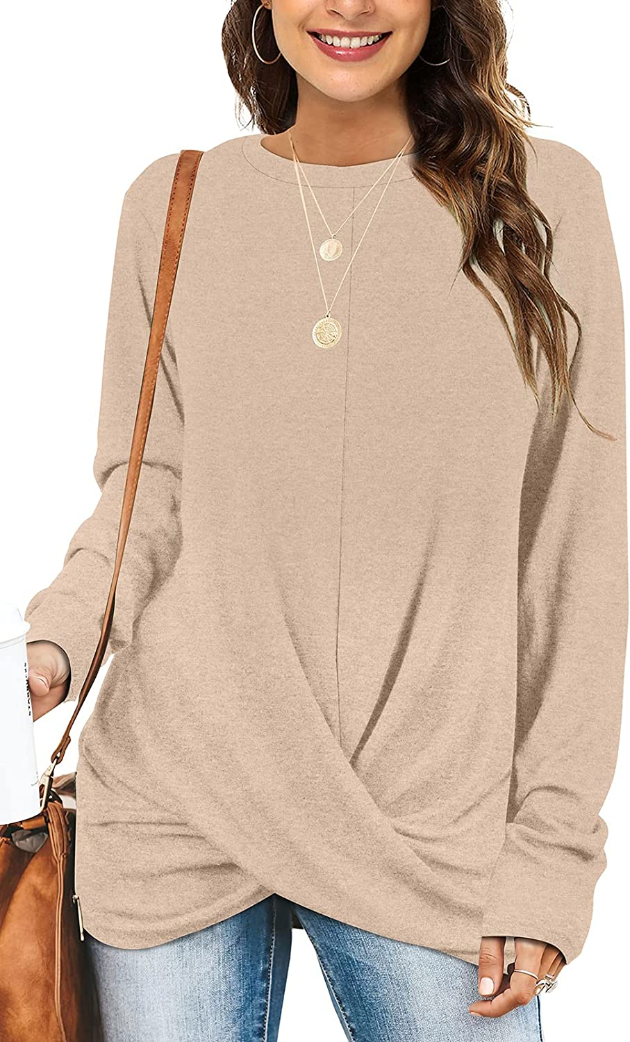 Tunic Tops For Leggings For Women Twist Front Long Sleeve Crew Neck Shirts