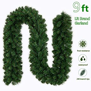 9 Foot Christmas Garland Christmas Wreaths Garland Decorations for Indoor/Outdoor Xmas Decor (9 Foot)