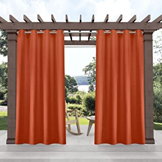 Exclusive Home Curtains Biscayne Indoor/Outdoor Two Tone Light Filtering Grommet Top Curtain Panel Pair, 54x84, Mecca Orange