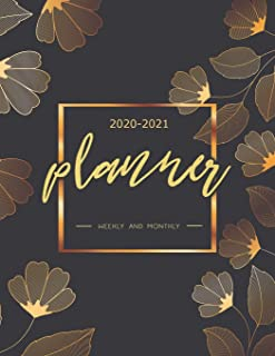 2020-2021 Planner Weekly and Monthly: Planner 2020-2021, 2020-2021 Two Year Planner, 24 Month Planner 2020-2021, Planner Organizer Journal, Appointment Book. (Gold Floral) (2020-2021 calendar)