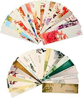 Z-Liant Bookmarks : Set of 60 Chinese Flower and Scenes Brush Painting, each bookmark picture are different, Great Gift for Kids, Student, Book Club etc.