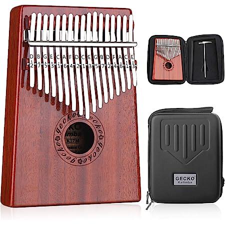 GECKO カリンバ 17 keys Kalimba 親指ピアノとEVA高性能保護ケース、ハンマー、スタディガイド。
