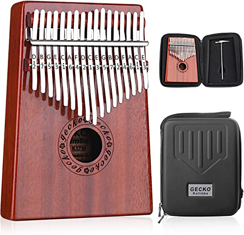 GECKO Kalimba 17 Keys Thumb Piano with Waterproof Protective Box,Tune Hammer and Study Instruction,Portable Mbira San...