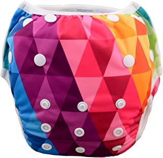 Babygoal Baby Swim Underwear for Swim Lesson,Reuseable Washable Adjustable Swiming Diapers, Best Baby Gift Sets, Girl Swim Diaper SWD32, one size( 0-2 years), Diamond
