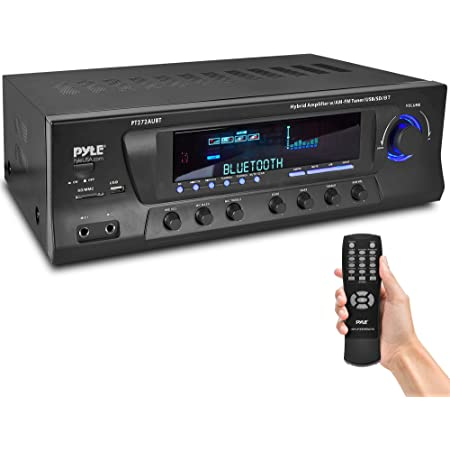 Wireless Bluetooth Audio Power Amplifier - 300W 4 Channel Home Theater Stereo Receiver with USB, AM FM, 2 Mic IN with Echo, RCA, LED, Speaker Selector - For Studio, Home Use - Pyle PT272AUBT