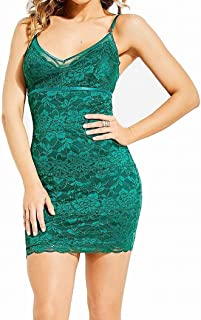 GUESS Women's Floral Lace V-Neck Sheath Slip Dress