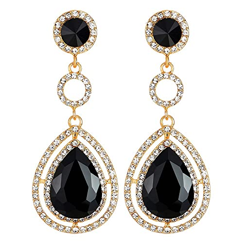 39c7736b5 Event Banquet Prom Party Rhinestone Black Crystal Teardrop Dangle Drop  Large Gold Statement Earrings