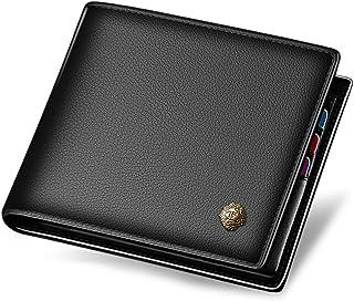 LAORENTOU Men's Leather Wallet Short Wallets Card Holder Purse Slim Cow Leather Casual Man Wallet Black
