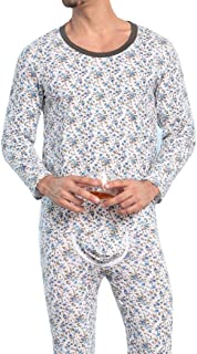 Pingtr Men's Printing Thermal Base Underwear Sets Long Johns Top & Bottom Suits