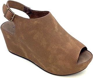 Pierre Dumas Natural-6 Ladies Open Toe Platform Wedge