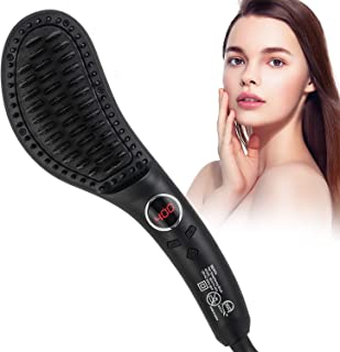 Hair Straightener Brush, 30s Fast MCH Ceramic Heating Hair Straightening Brush with Anti Scald Feature, Portable Frizz-Fre...