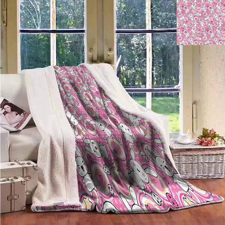 Sunnyhome Fleece Blanket Anime Cute Rabbits Kids Humor Luxurious Plush Blanket W59x31L