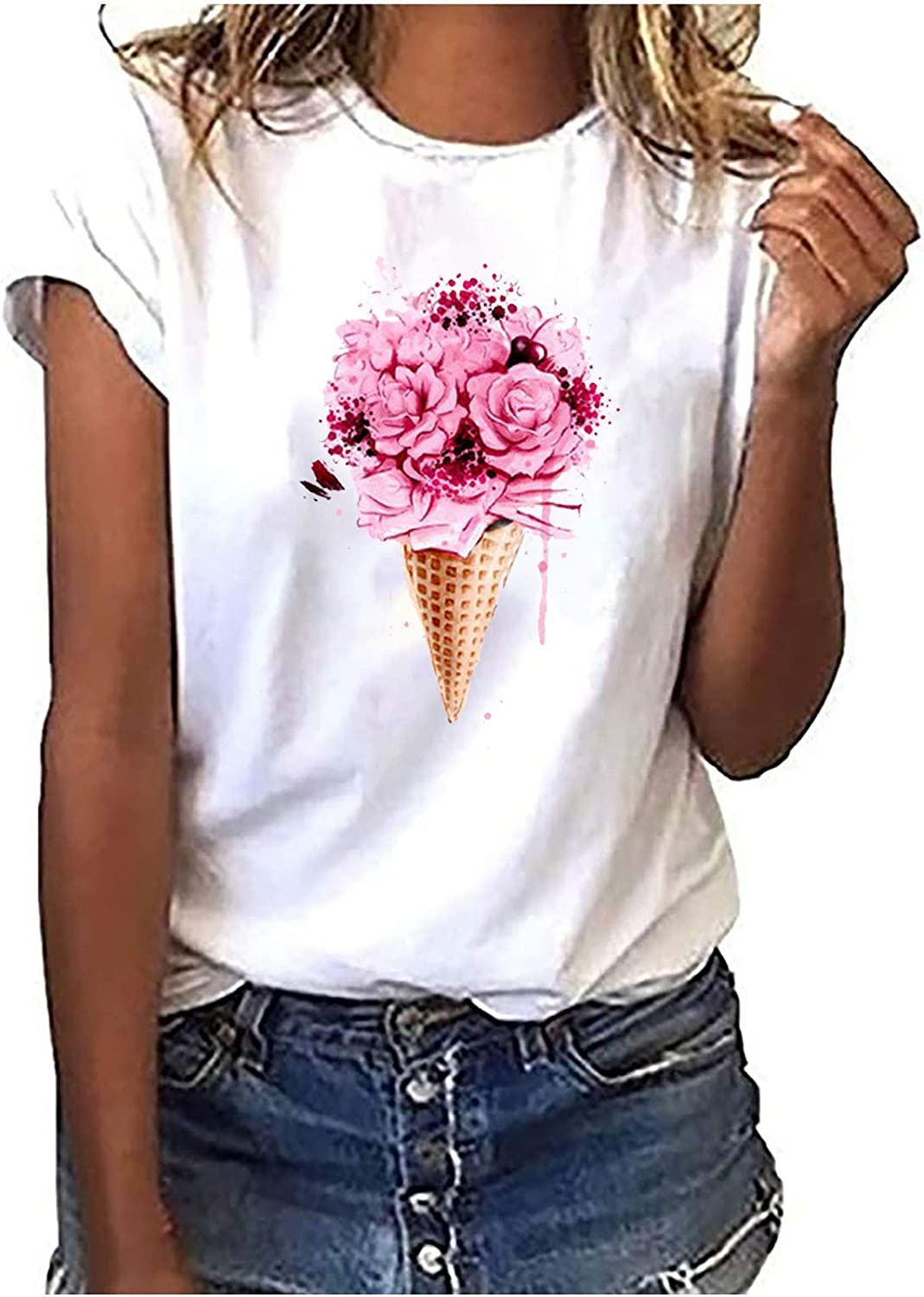 RKSTN Summer Tops for Women, Vintage Bicycle Love T-Shirt Casual Pullover Tops Korean Harajuku Style Graphic Tees