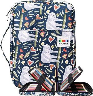 BOMKEE Coloring Pencil Case 220 Slots Pencils/Gel Pens Organizer Waterproof Travel Case Zipper Carrying Portable Pencil Ma...