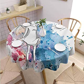 DILITECK Girls Beach Round Tablecloth Sketchy Fashion Lady with Hat Looking Watercolor Splash Brushstroke Steam Artsy Image Soft and Smooth Surface Diameter 36