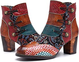 CrazycatZ Womens Ankle Boots Leather Block Heel Flower Splicing Pattern Side Zipper Boots