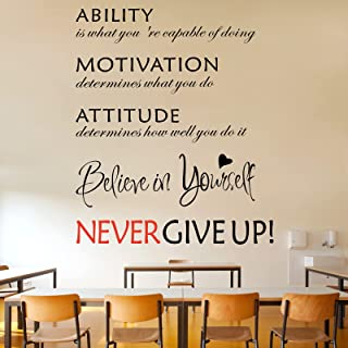 3 Sheets Wall Sticker Never Give Up Wall Decal Ability Motivation Attitude Wall Quotes Decal Believe in Yourself Inspirati...