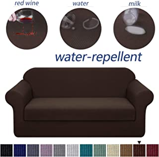 Granbest Premium Water Repellent Sofa Cover 2-Piece High Stretch Couch Slipcover Super Soft Fabric Couch Cover (Chocolate, Sofa-2 Pieces)