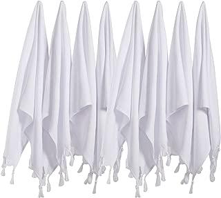 (SET of 8) Turkish Cotton Hand Face Head Guest Gym Towel Set Peshtemal Washcloth Kitchen Tea Towel Dish Cloth Set (White)