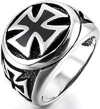 MunkiMix Grande Gran Acero Inoxidable Anillo Ring El Tono De Plata Negro Cruzar Cruz Hombre