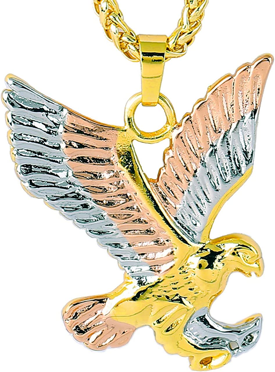 Eagle Necklace for Men Hawk Pendant Jewelry for Women With Rose Gold,Platinum Plated Design By YYA