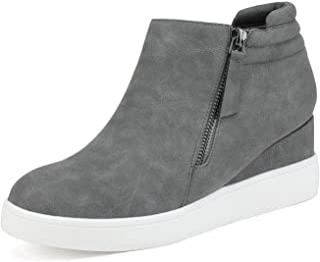 DREAM PAIRS Women's Casual Platform Wedge Sneaker Booties