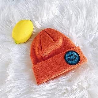 ZiWen Lu Knitting Wool Cap Autumn and Winter hat Female Korean Wild Sequined hat Warm Tide Male landowners Paternity Big Stretch Size (Color : Orange, Size : One Size)