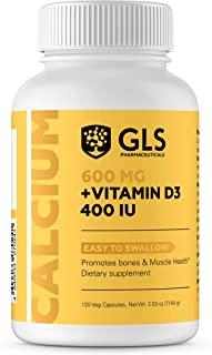 Calcium 600 mg with Vitamin D3 400 IU - Pure and Natural Vegan Caps - Bone and Joint Health Supplement for Women And Men –...