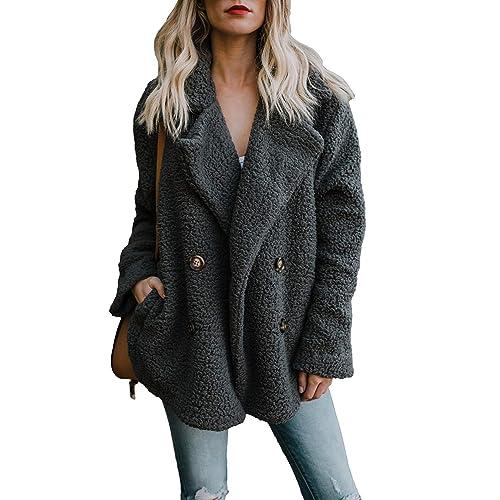 36b744857a FIYOTE Womens Fuzzy Fleece Open Front Cardigan Coat Outwear with Pockets