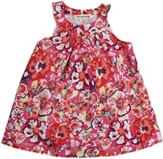 Lemcos 子供 ワンピース 花柄 ノースリーブ コットン Oネック 子どもドレス 女 可愛い スカート 子供服 女の子用 春衣装 女児