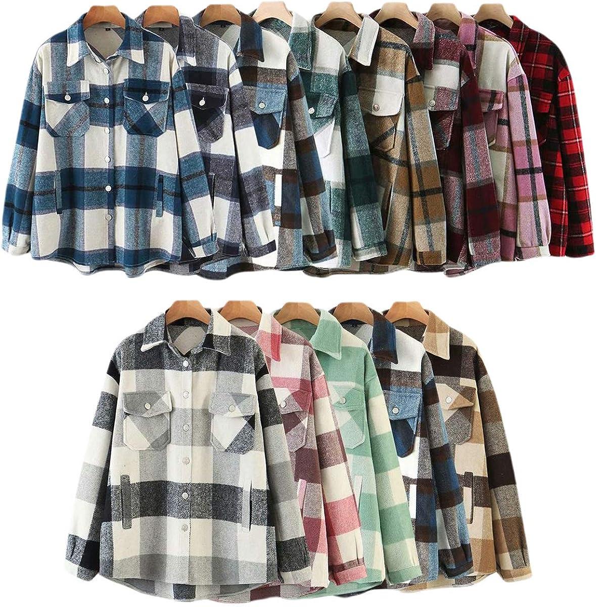 Excellent Women Plaid Long Sleeve Shirt Jacket Sale SALE% OFF Casual Button Blend Do Wool