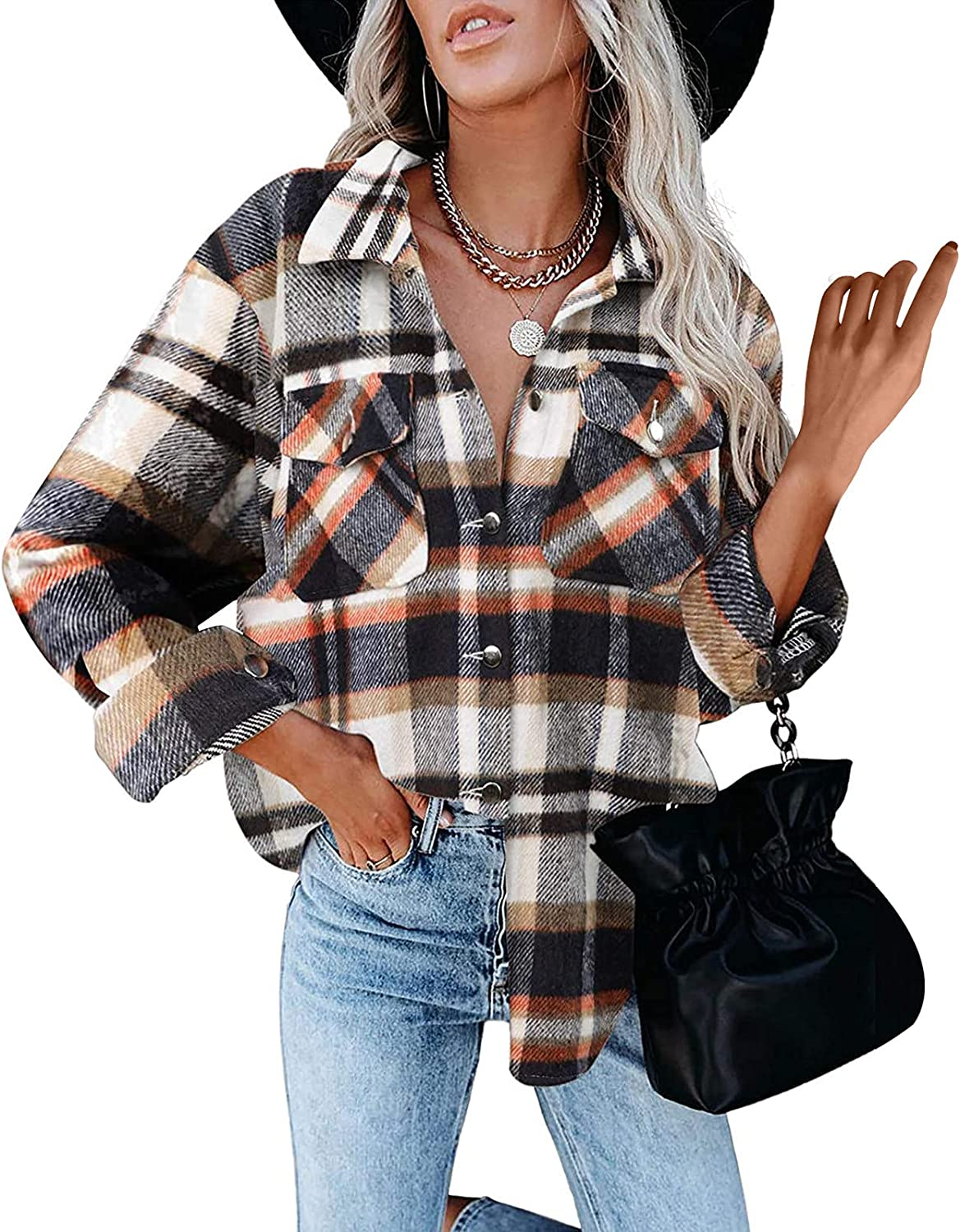 Lovor Women's Brushed Plaid Shirts Sleeve Sale Fashion Long Flannel But Lapel