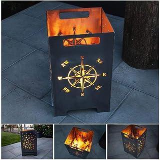 teileplus24 FT01 Feuertonne Feuerschale Feuerkorb Groß Eckig Steckbar Leichte Reinigung, Design:Kompass 50cm