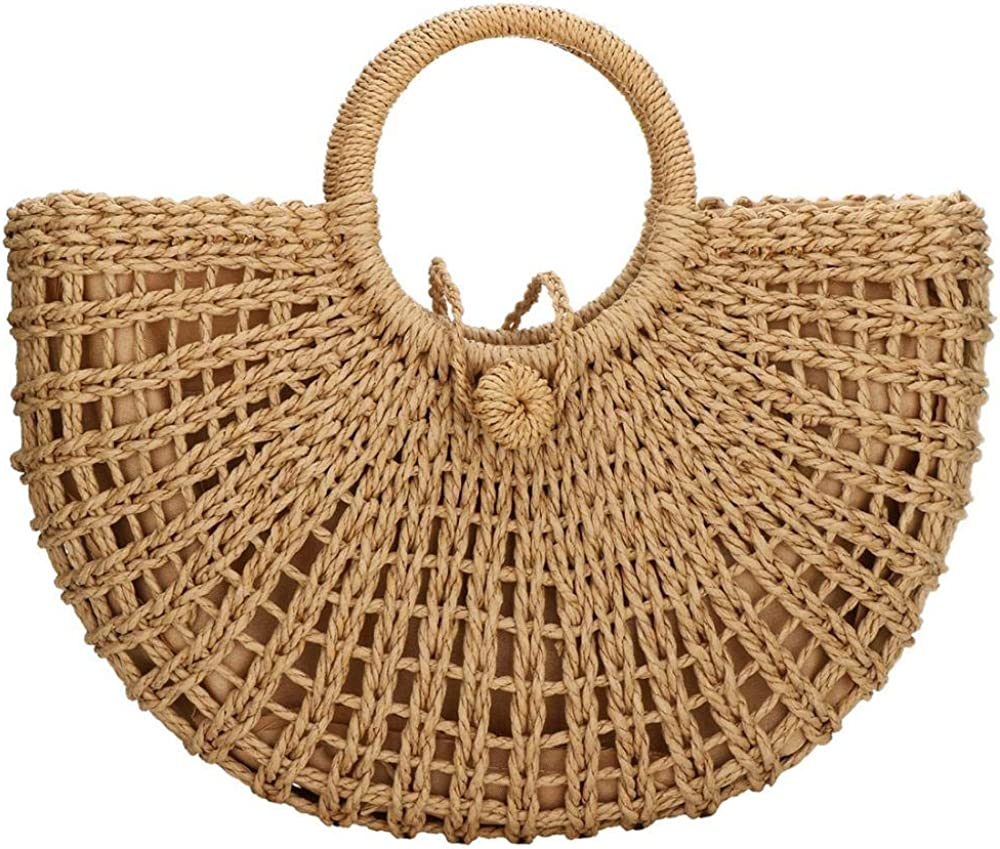 Straw Bags for Women Hand-woven 4 years warranty Hobo Round Handl Large Bag 4 years warranty