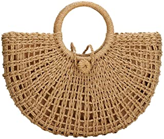 Straw Bags for Women,Hand-woven Straw Top-handle Bag with Round Ring Handle Summer Beach Rattan Tote Handbag