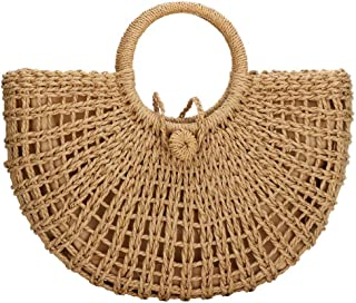 Woven Straw Bags Natural Chic Round Straw Large Beach Bag Round Handle Ring Tote Retro Summer Beach Rattan bag