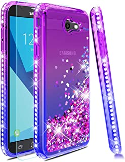 Samsung Galaxy J3 2017 Case,Galaxy J3 Emerge/Prime/Eclipse/Express Prime 2/J3 Luna Pro/Amp Prime 2 Phone Case W/ Tempered Glass Screen Protector,Glitter Quicksand Diamond Protective Cover-Purple/Bule