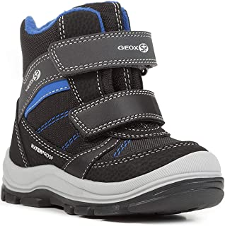 Geox Boys' TRIVOR 1 Waterproof Boots Riptape Straps, BLK Snow, Black/Blue, 20 M EU Toddler (4.5 US)